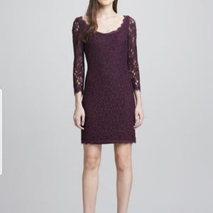 DVF Zarita Lace Dress Plum